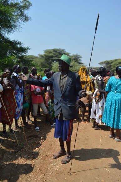 South Sudan's Toposa old man stands holding spear during the Welcoming of Namoronyang State governor Lobong Lojore, Photo by Male Daniel, Kapoeta, Namoronyanga State, 4th Jan 2016