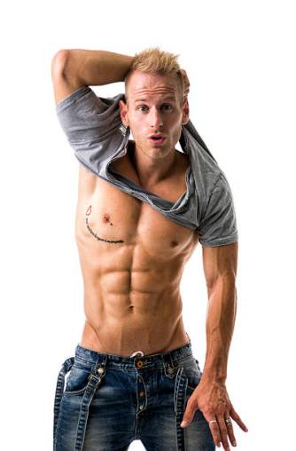 Image of Attractive man with top off