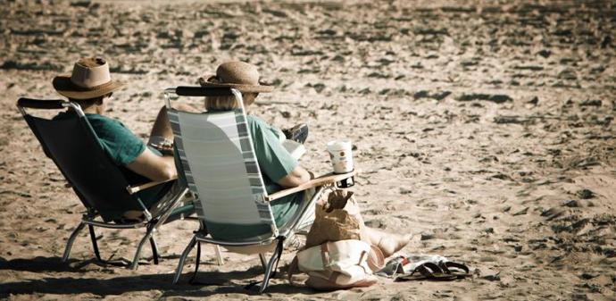Old Couple on Beach Image
