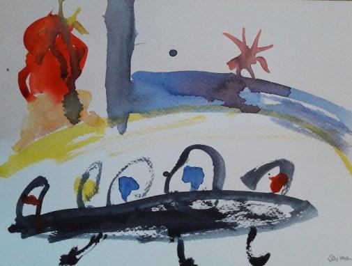 Aquarell-Malerei ohne Thema (hier: Aliens)