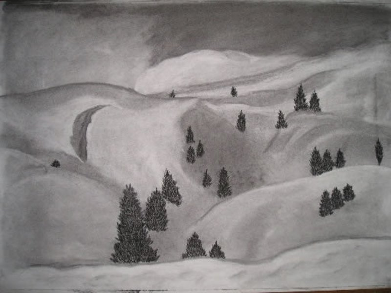 Schneeberge-Kohlezeichnung