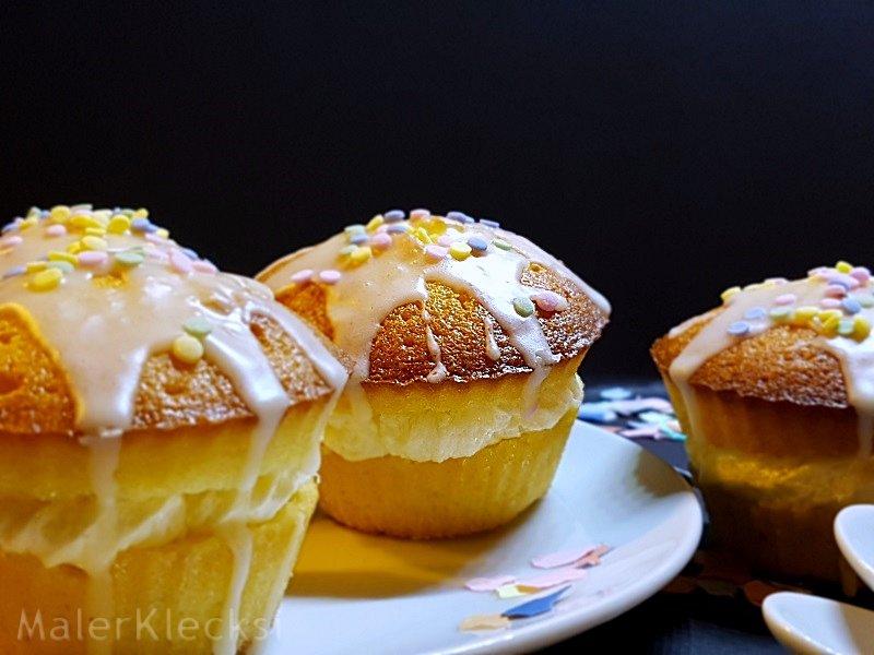 Dreifach beschwipste Muffins mit Konfetti