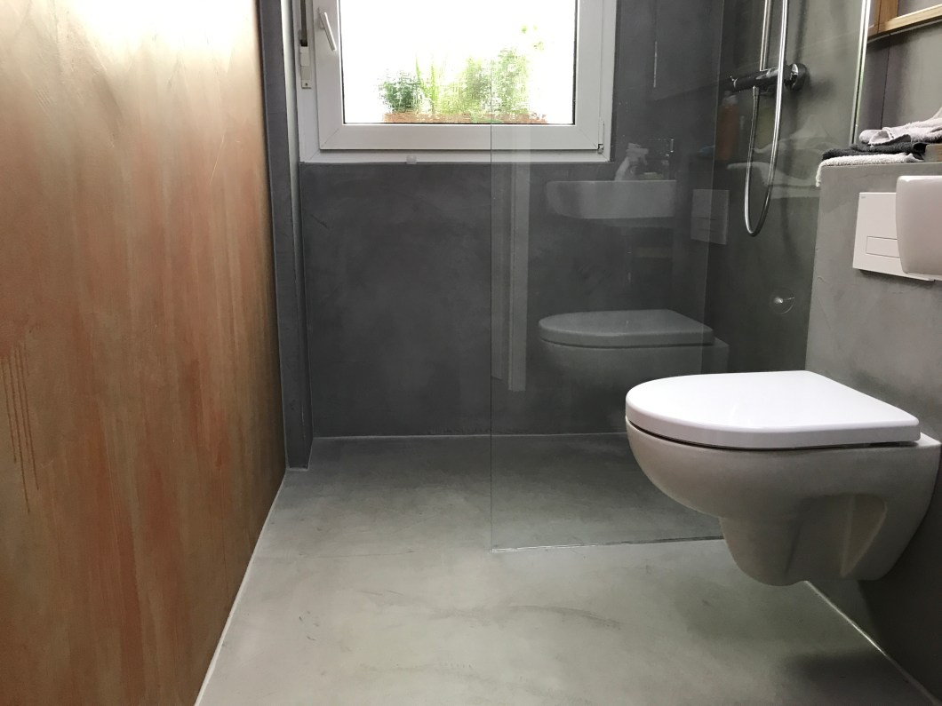 Fugenloses Badezimmer/Betonlook