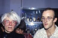 Keith Haring with Andy Warhol at a bar