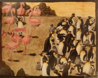 Una delle tele di casa Owens: Fenicotteri rosa VS Pinguini