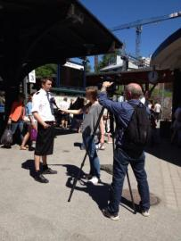 Swedish train driver Martin Akersten poses wearing a skirt in Stockholm on May 31, 2013.