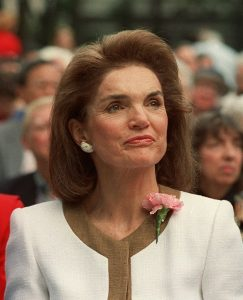 Jacqueline Kennedy Onassis is shown in New York in this 1992 photo from files. The frenzied four-day auction of Camelot souvenirs, White House history, and the glamour of Jacqueline Kennedy Onassis finally came to an end Friday night, April 26. 1996, taking in a total of $34.5 million. (AP Photo/Susan Ragan, File)