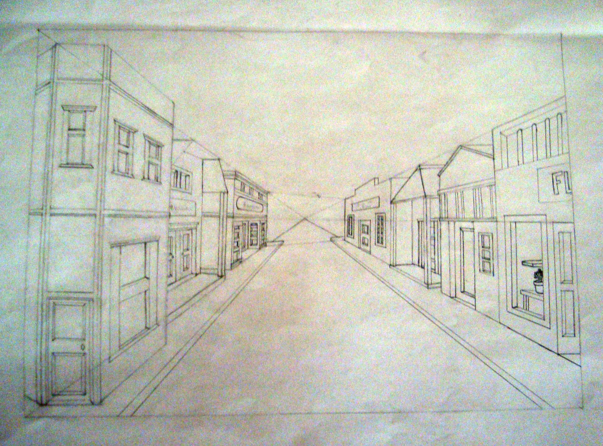 City Scene One Point Perspective