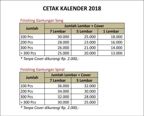 cetak kalender 2018 pontianak