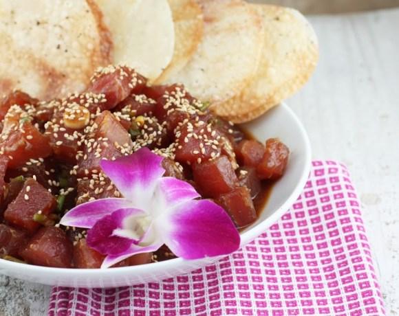 ahi tuna poke+ sea-salt and pepper wonton crisps