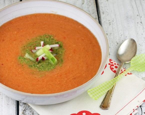 gazpacho + cilantro pesto