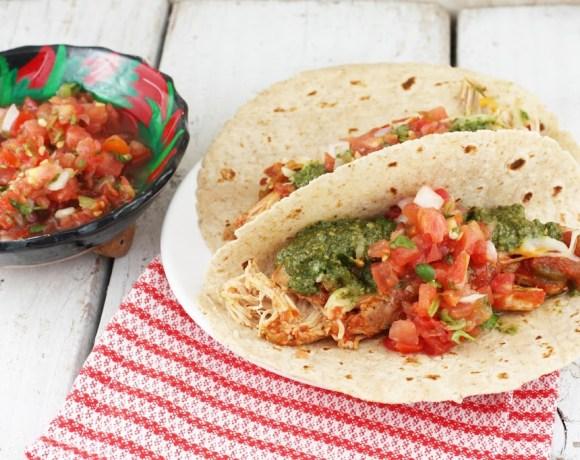 Slow-Cooker Salsa chicken tacos, cilantro pesto + pico de gallo