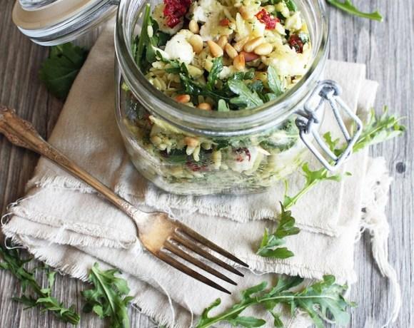 pesto + mozzarella orzo salad