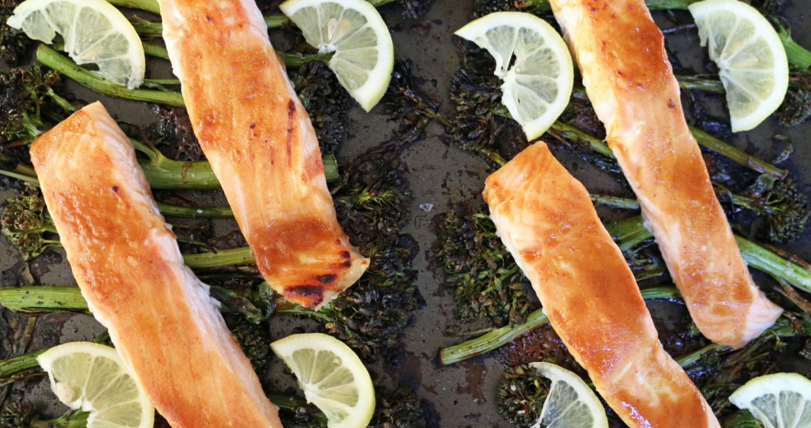 sheet pan soy-mustard salmon + broccolini