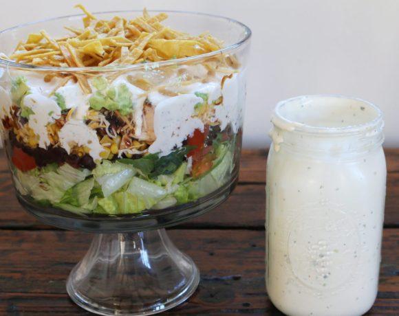 layered bbq chicken chopped salad