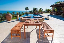Malibu Eco-Friendly 3 Piece Wood Outdoor Dining Set with Backless Benches
