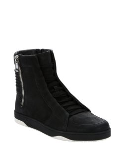 Gucci black leather dual side-zip high-top sneakers – Mens Shoes