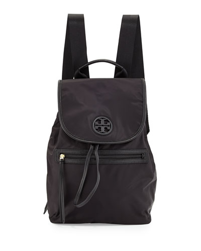 Tory Burch Slouchy Nylon Backpack, Black