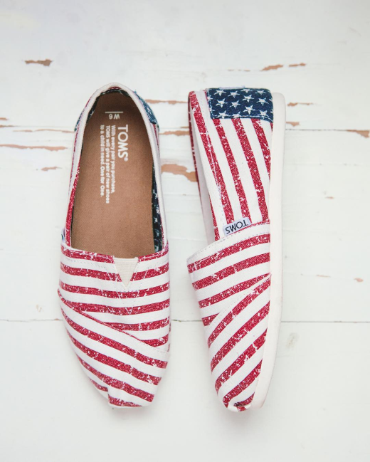 Toms Americana Canvas Flag Classics Womens Shoes