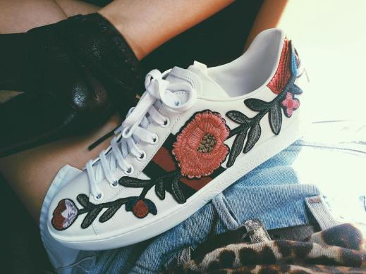 Gucci New Ace Floral-Embroidered Low-Top Womens Sneakers
