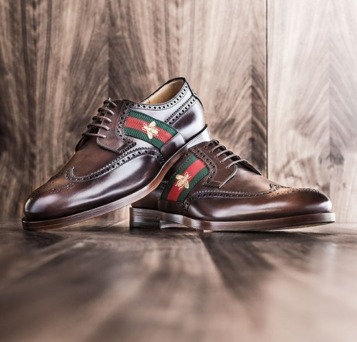 Gucci Strand Bee Web Brown Leather Lace-Up Mens Shoes