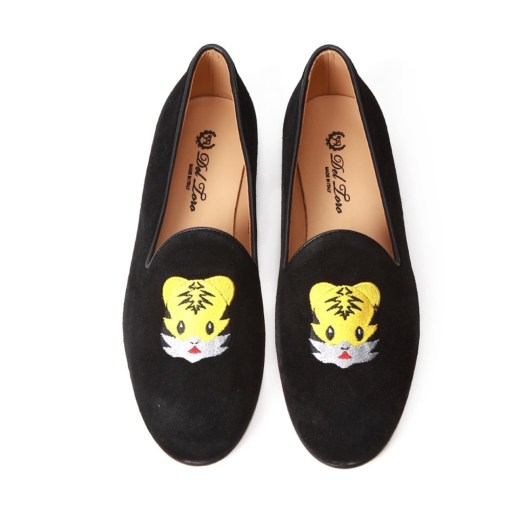 Del Toro Black Suede Tiger Emoji Embroidery Womens Slippers