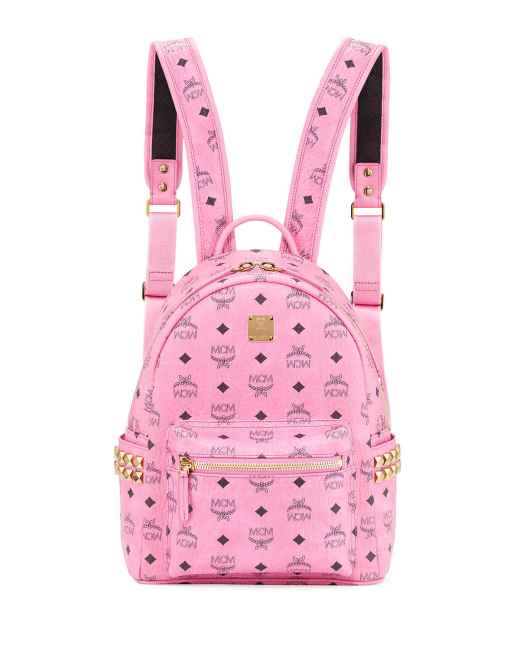 MCM Stark Visetos Small Side-Stud Pink Backpack