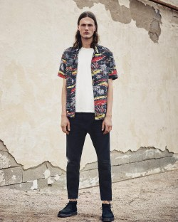 All Saints Eden Hawaiian Graphic Mens Shirt