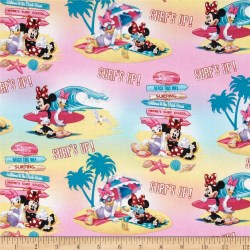 Disney Minnie Mouse & Daisy Surf's Up Pink Fabric