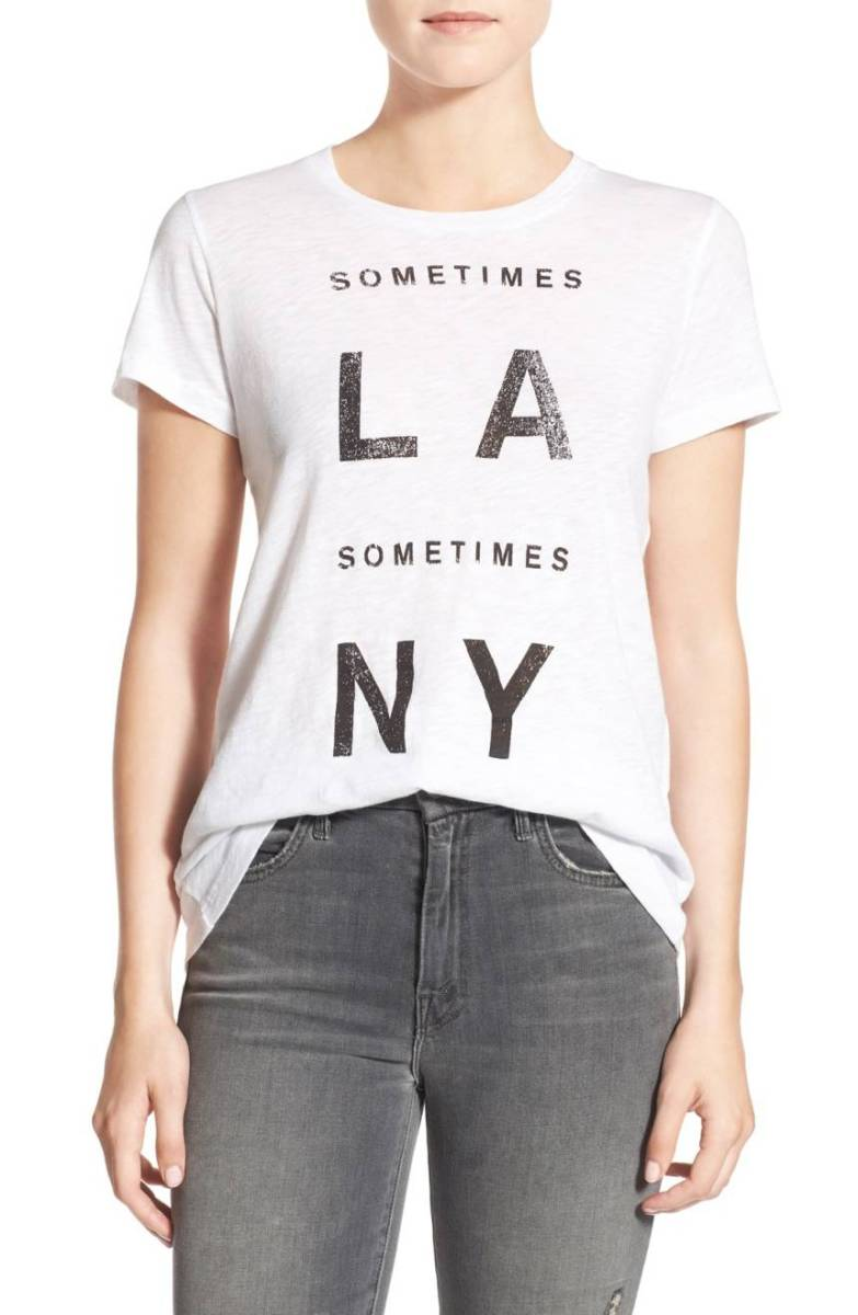 Sundry Sometimes 'LA & NY' Womens Graphic T-Shirt