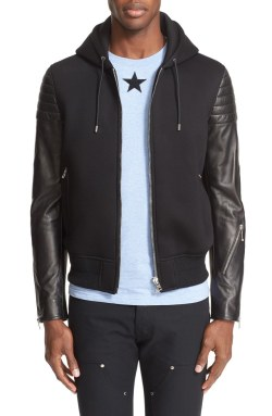 Givenchy Leather Sleeve Mens Moto Hoodie Jacket