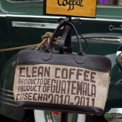 Leather and Recycled 'Clean Coffee' Jute Tote Bag from Guatemala