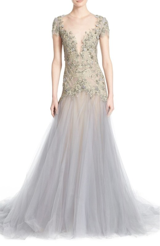 Marchesa Embroidered Lace & Tulle A-Line Gown
