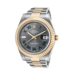 Rolex Datejust Auto SS & 18K Yellow Gold Dark Grey Dial Mens Watch
