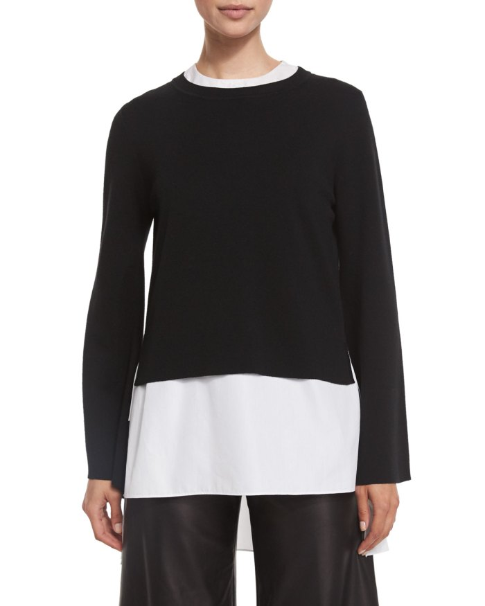 Adam Lippes Double Faced Bell Sleeve Top
