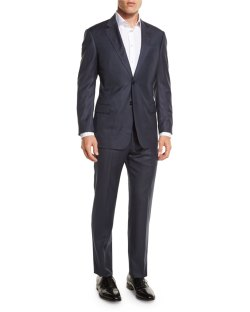 Armani Collezioni G-Line Sharkskin Wool Navy Two-Piece Suit