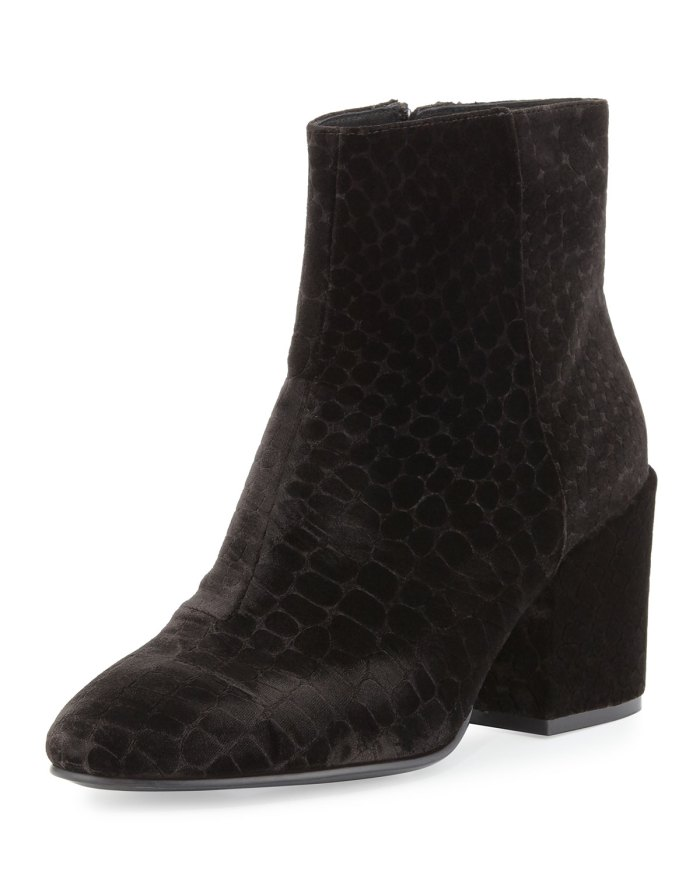 Ash Erika Black Velvet Ankle Boot