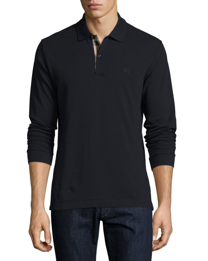 Burberry Long-Sleeve Oxford Navy Polo Shirt
