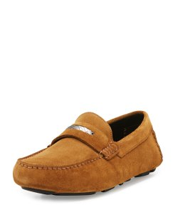 Burberry Silversone Caramel Suede Penny Loafers