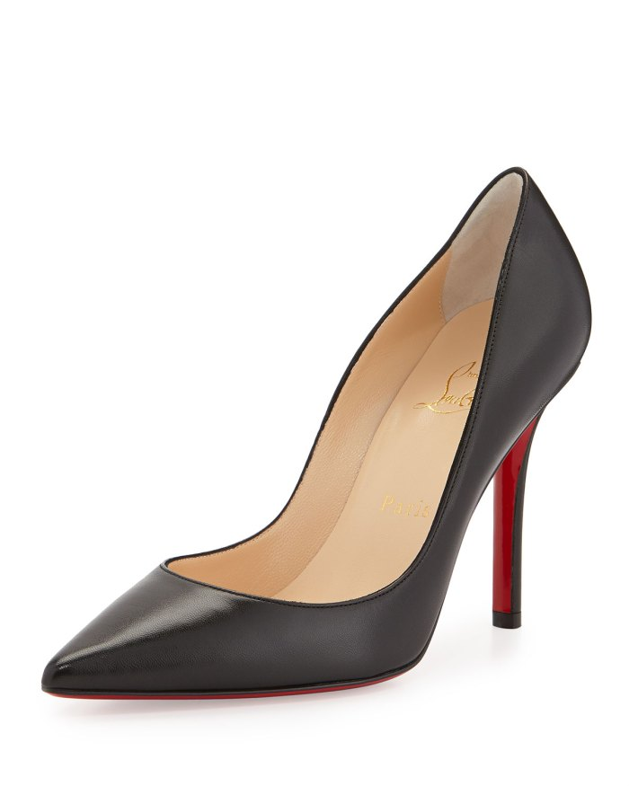 Christian Louboutin Apostrophy Black Pointed Red-Sole Pump