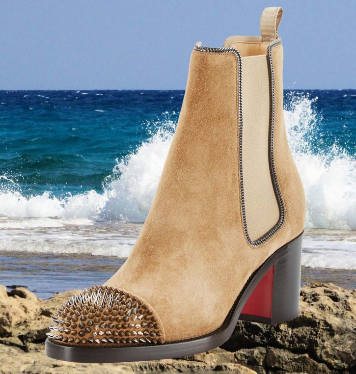 Christian Louboutin Otaboo Spike-Toe 70mm Camel Red Sole Bootie Shoes