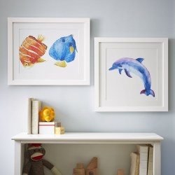 Dolphin Watercolor Sea Mammals Framed Art Print