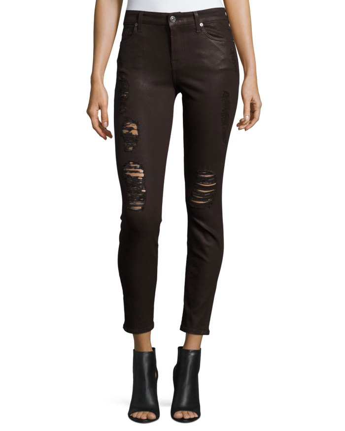 7 For All Mankind The Ankle Skinny Jeans with Distressing, Coated Fashion