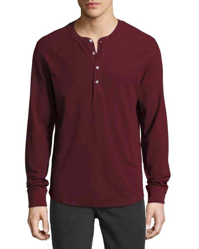 7 For All Mankind Thermal Chianti Mens Henley T-Shirt