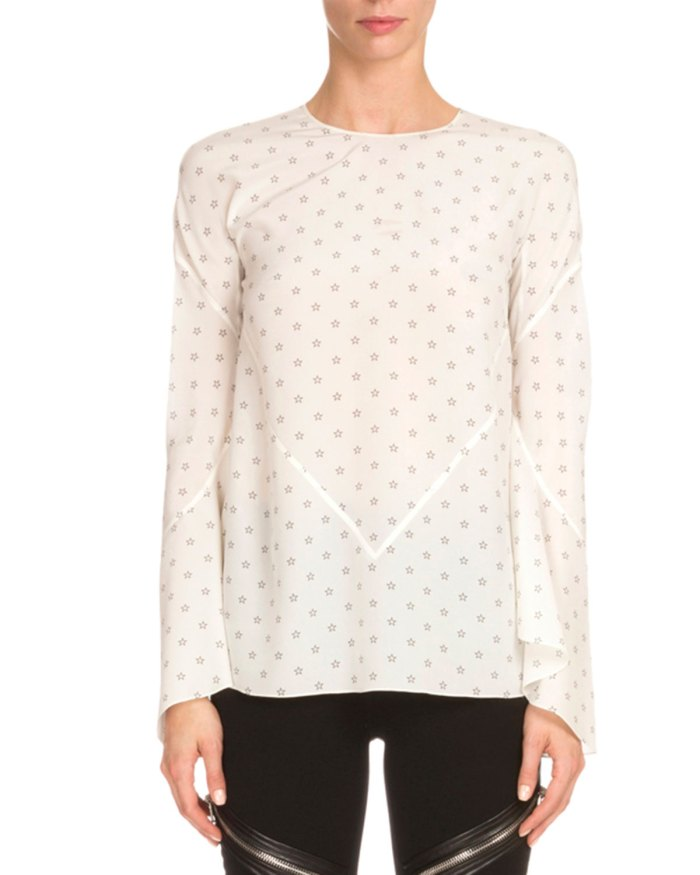 Givenchy Bell-Sleeve Mini Star-Print Blouse