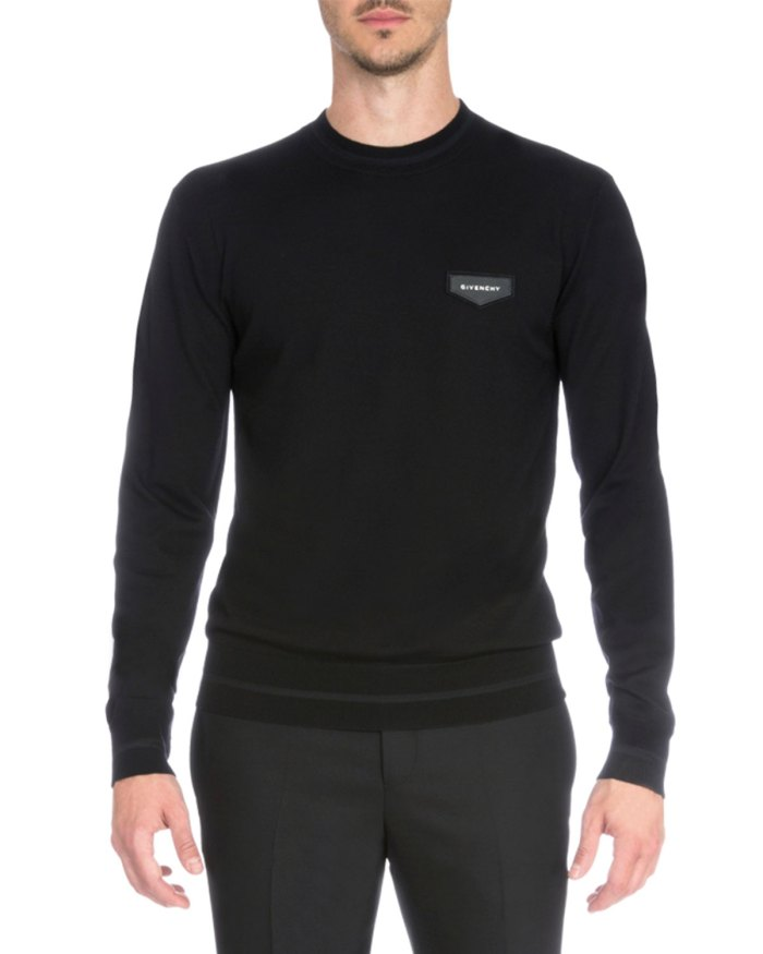 Givenchy Logo Patch Black Crewneck Sweater