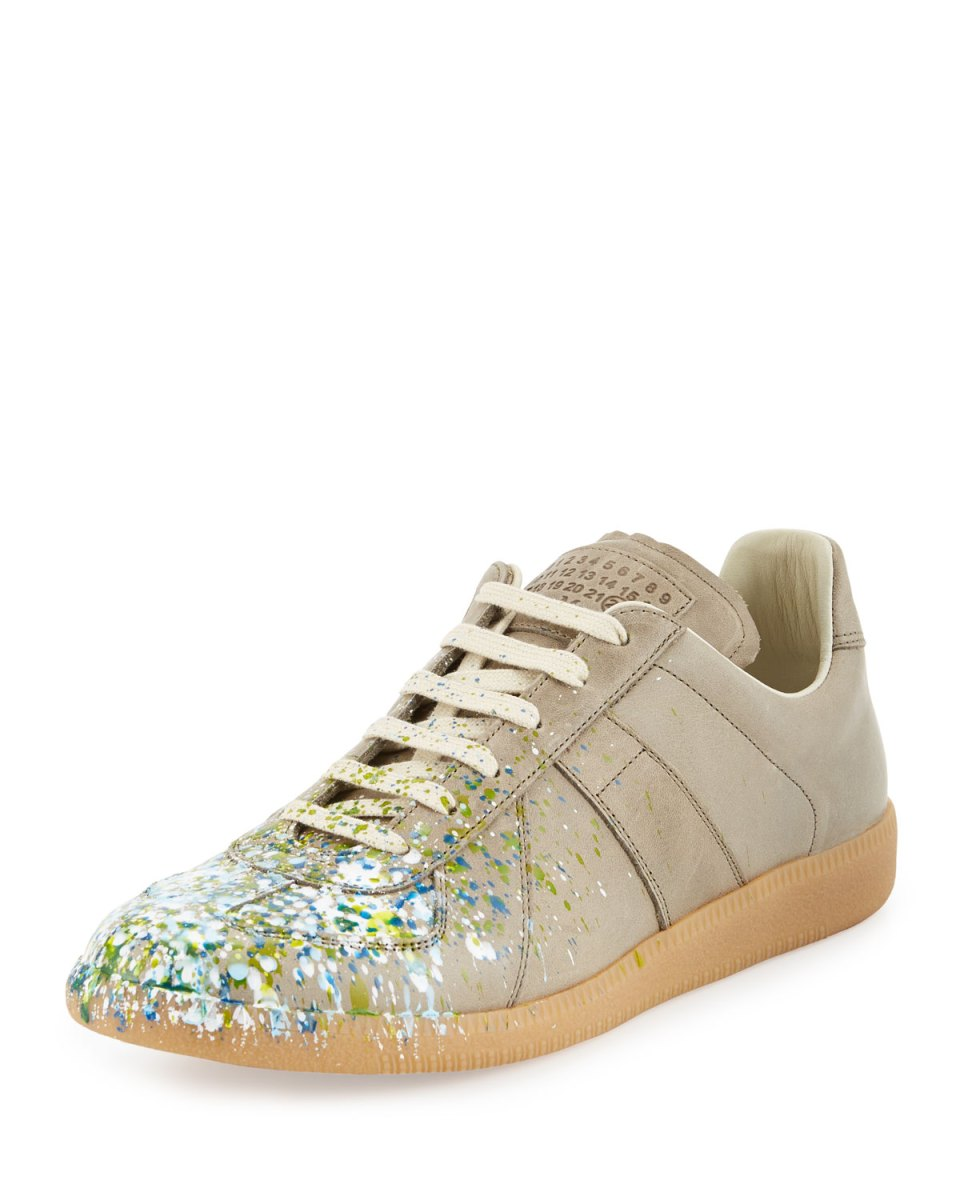 Maison Margiela Replica Paint-Splatter Khaki Low-Top Sneakers
