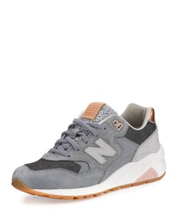 New Balance 580 Gray Suede Low-Top Sneakers