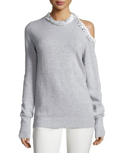 3.1 Phillip Lim Embellished Cold-Shoulder Pullover Sweater