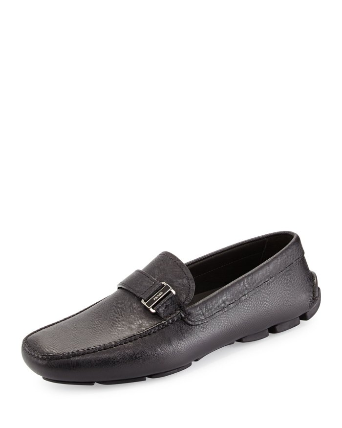 Prada Saffiano Side-Buckle Black Driver Shoes